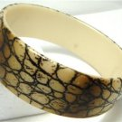 Vintage Beige/Brown Snakeskin Design Lucite Bangle Bracelet