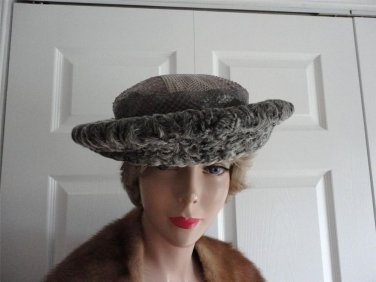 Vintage Persian Lamb/Snakeskin Women  Hat XS 21 inches 60sGR Originals Canada
