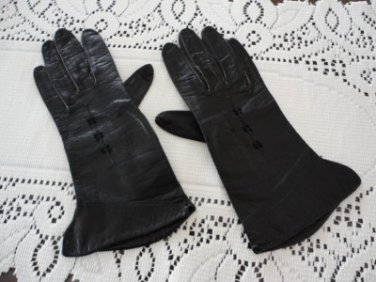 Vintage Black Kid Lady's Gloves S 6 1/4 Kinid