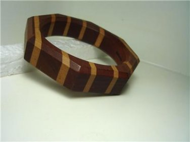 Vintage Octogon Laminated Wood Bracelet Bangle Signed Paragon