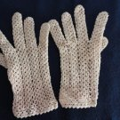 Vintage Beige Crocheted Net Wristies Gloves Size Med Lenght 7 Inches France