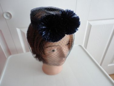 Vintage  Navy Straw/Netting Caged Fascinator Cocktail/Whimsy Women Hat 60's