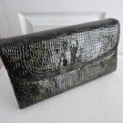 Vintage Dk Green Faux Snakeskin Leather Clutch Purse 70s Naturalizer/Mastercraft