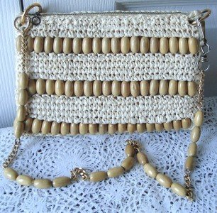Vintage Crocheted Straw & Wood Clutch Purse Japan 70's