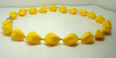 Vintage Sunny Yellow Lucite Beads Choker Necklace