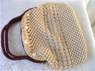 Vintage Weird Lucite Frame Hand Crocheted Purse 60's Boho