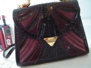 Vintage Geometric Moc Croc Leather Like Pink/Burgundy Purse