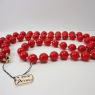 Vintage Sexy Red Lucite beads  Necklace Coro Tag!