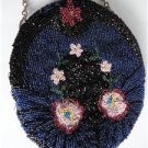 Vintage Fully Glass Beaded Flower Design Oval Evening Purse 30s