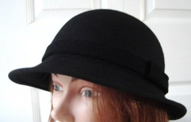 Vintage Black 100% Wool Felt Men Hat Medium 21½ inches McGill