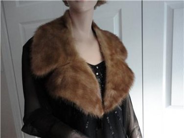 Vintage Gorgeous Medium Brown Mink Fur Collar