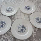 Vintage Enoch Wedgwood Royal Blue 5 Dinner Plates Nice