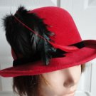 Vintage Sexy Red Felt Women Hat Gorgeous Small 21½ inches Georgette