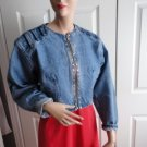 Vintage 80's Short Denim Women Jacket Cobra Large SEXY!