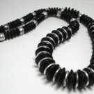 Vintage Black Plastic Rondelles Beads Necklace