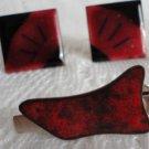 Vintage Artisan Red & Burgundy Enamel Cufflinks/Tiebar