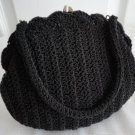 Vintage Black Crocheted Evening Clutch Purse Artel