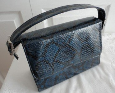 Vintage Navy Leather Like Snakeskin  Kelly Purse Creation Andre