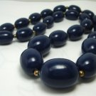 Vintage Navy Lucite Beads Choker Necklace