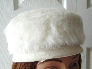 Vintage White Rabbit Hair Pillbox  Women Hat XS 20¼ inches