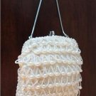 Vintage White Dangling Beaded Evening/Bridal Clutch Purse Hand Made Hong kong