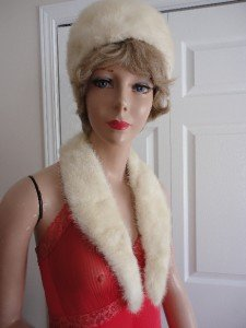Vintage Genuine White Mink Women Hat Extra Small 20 3/4 in Matching Collar