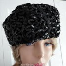 Vintage Black Sequined/Shirred Women Hat  XS 21 1/4 inches 60s Candide Quebec