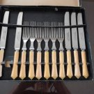 Vintage Yellow Art Deco Design Bakelite Steak Knives/Forks 11 pcs Made Canada
