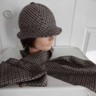 Vintage Brown Sawtooth Wool Blend   Men Soft Hat / Scarf Small 21 inches Italy