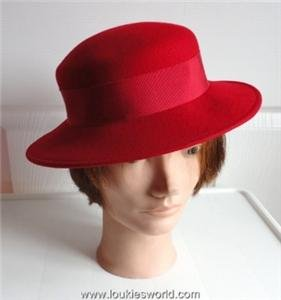 Vintage Bright Red Felt Women Hat XS 20 3/4 inches Georgette Canada