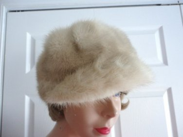 Vintage Genuine Pastel Cross Mink Women Hat/Cap  Small 21 1/2 in Made Canada