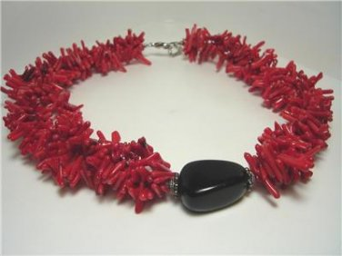 Vintage Red Branch Coral Necklace/Choker Onyx Center