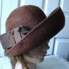 Vintage Med Brown Felt Women Hat Msieu Leon Small 21½ inches