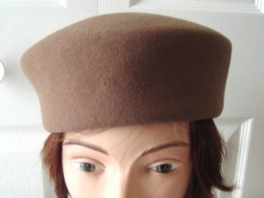 Vintage Light Brown Doeskin Felt Women Hat Kates Small 21½ inches Made in Canada