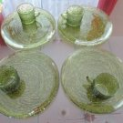 Vintage Avocado Green Glass Snack Set Ancho Hocking 70's