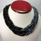 Vintage Black/Grey Multi Strands Necklace Bugles Bohemian Glass NOS