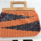 Vintage Orange/ Multicolor Hand Woven Fabric Cabas/Purse Llight Wood Handles