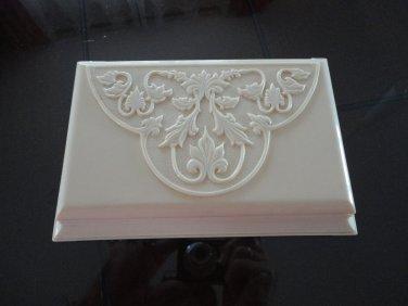 Vintage Cream Lucite Box Embossed Vine Design 60s