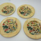 Vintage Florida Souvenirs Wood Map Coasters Set