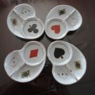 Vintage Handpainted set personal ashtrays card players Japn