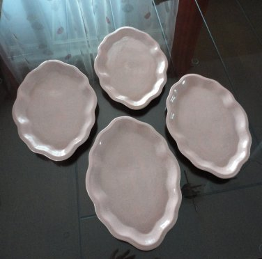 Vintage Oblong Pink Speckled Pottery Plates