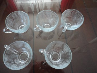 Vintage Lot of 5 Cups Clear Glass Wavy Ribbed Design Indonesia