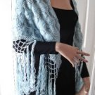 Vintage Handmade Light Blue Yarn Shawl Silk Fringe