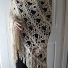Vintage Handmade Crocheted Shawl Beige Yarn So Feminine