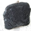 Vintage Black Satin/Glass Beaded Clutch Purse