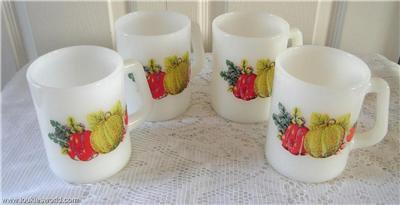 Vintage 4 Milk Glass Vegetable Design Mugs Federal