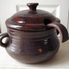 Vintage Laurentian Pottery Mottled Dark Brown Pottery Tureen/Laddle