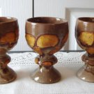 Vintage Laurentian Pottery 3 Lava Brown//Yellow Footed Wine Goblets