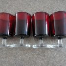 Ruby Red Arcoroc Set 4 Water Goblets FootedFrance 60s