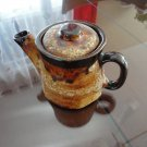 Brown & Yellow Lava Teapot Pottery Laurentian Pottery 70s